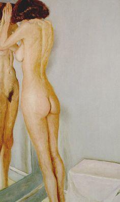 Page : Standing Nude with a Mirror / Artist : Avigdor Arikha / Culture : Romanian-born Israeli / Date : 1929 / 여성이 거울에 비스듬히 기대어 있는 모습이다. 얼굴을 거울에 기댐으로써 거울에도 실제로도 모델의 얼굴이 보이지 않는다.    이 작품은 누드가 중심인 것으로 보이며 아마 이와 같은 포즈와 거울의 배치는 모델의 얼굴을 가리기 위한 조치가 아니었을지 추측해본다. 물론 거울 없이도 모델의 얼굴이 보이지 않도록 포즈를 취할 수 있었겠지만, 이와 같은 식의 약간은 비스듬한 뒷모습과 앞모습 모두를 그릴 수는 없었을 것이다.