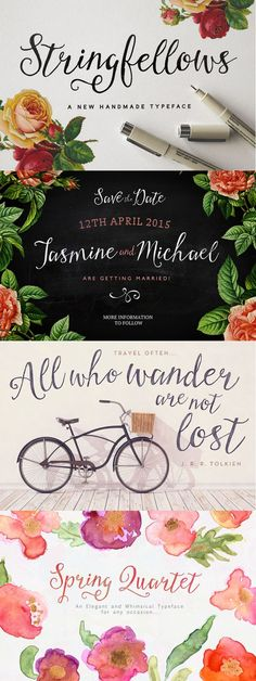 Stringfellows is a script font prefect particularly for typographical quote posters...and wedding invites....and custom address stamps.