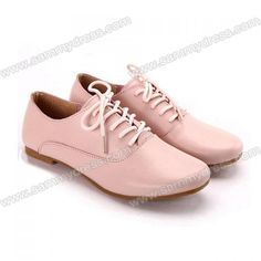 Casual Women's Flat Shoes With Lace-Up and Pure Color Design (PINK,39) China Wholesale - Sammydress.com