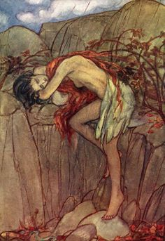 Eve grieving the loss of her son.  Illustration by Emma Florence Harrison to the poem by Christina Rossetti