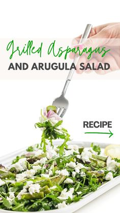 Arugula Salad Recipes, Healthy Salad Recipes, Salad Recipes For Dinner, Healthy Fruits, Vegan Dinner Recipes, Vegan Dinners, Grilled Asparagus, Grilled Vegetables, Asparagus Recipe