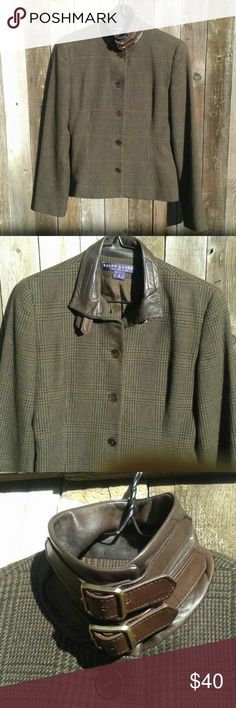 Cashmere Houndstooth Plaid Jacket Leather Pure Cashmere with with silk lining, lightweight and slim cut but wonderfully warm. A good shade darker than photos. Runs a size small due to slim cut like most RL. Ralph Lauren Jackets & Coats Blazers