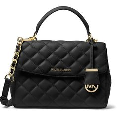 MICHAEL Michael Kors Ava Small Quilted Leather Satchel Bag ($315) ❤ liked on Polyvore featuring bags, handbags, black, satchel bag, zipper purse, flap satchel handbag, zipper flap purse and zipper handbag
