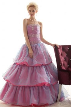 Marvelous Ball Gown Strapless Floor-length Organza Prom dress SBG0198-TB Interesting layering.