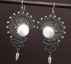 """Eclipse Earrings    Made for Year of Jewelry week 2 theme of eclipse. Gold filled and silver and coin pearls. About 2 3/4"""" high. Nicely light weight"""