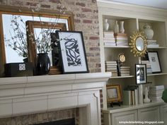 mantel and bookcases...