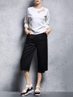 Black Plain Casual Pockets Plain Wide Leg Cropped Pants
