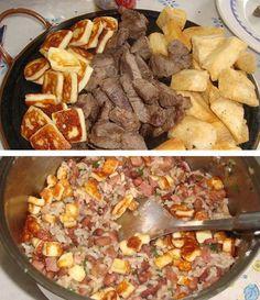 Receita de Baião de dois com carne de sol, aipim e queijo coalho frito - Show de Receitas