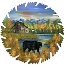 Hand Painted Saw Blade Fall Mountain Log Cabin and Black Bear 9 1/4 Inch
