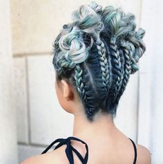 Upside down boxer braids and curly updos by Shelley Gregory