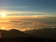 Sunset as seen from Mount Teide on Tenerife on a clear and sunny January day
