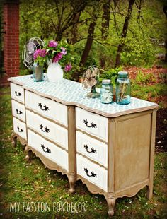 My Passion For Decor French Provincial Dresser with Zamira Cutting Edge Stencil.  Annie Sloan Chalk Paint, French Linen, Pure White and Aubusson Blue