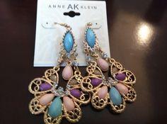 Ann Klein Chandelier Earrings Tear Drop Dangles Pink Turquoise Purple #AnneKlein #Chandelier