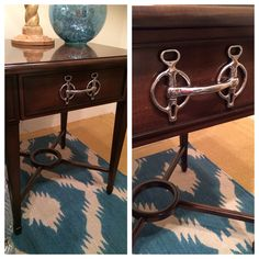 """What a cool way to """"repurpose"""" old furniture. Add an old horse bit as the drawer pull!"""