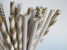 25 Metallic Silver and Gold Stripe and Chevron Paper straws