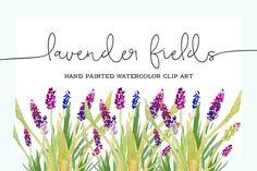 Watercolor Lavender Clip Art by Bella Love Letters on Creative Market