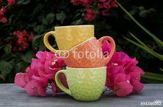 Tazze caffè con fiori