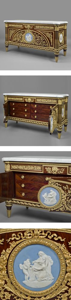 A Fine Louis XVI Style Gilt-Bronze Mounted Commode À Vantaux After a Model By Benneman and Stockel, The Mounts By Maison Mottheau Et Fils. This fine commode has a rectangular marble top with outset rounded corners above a frieze fitted with two panelled drawers with leaf scrolled mounts centering on a tablet with a lion mask. Below are a pair of richly mounted doors with gilt-bronze scrolling acanthus centering an oval Jasperware plaque.