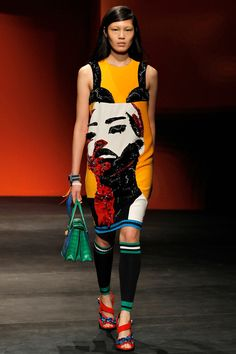 Prada Spring 2014 Ready-to-Wear Collection, modern rendition of the Pop Art garments of the 1960s