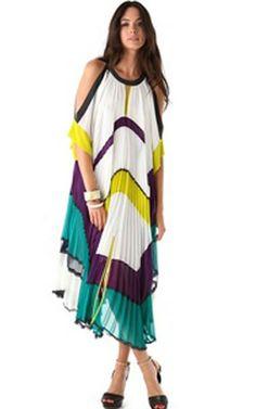 2014 Runway BCBG Color-Blocked Round-Neck Elbow-Length Sleeves Dress