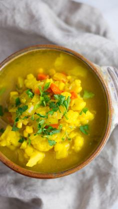 This tasty soup is what happens when corn chowder meets cauliflower goodness.