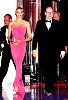 Royalty Daily, Favorite Outfits of Princess Charlene: Princess Charlene (then Charlene Wittstock) and Prince Albert at the Gala Dinner of the Monaco Grand Prix, 2010