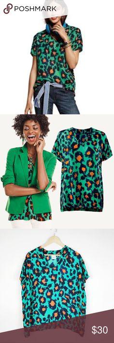 "CAbi ""Rita"" Green Animal Print Blouse Cabi ""Rita"" Green Animal Print Blouse. Size Small. Spring 2016 collection. Gently used condition.   Underarm-underarm 24"" Length 23"" CAbi Tops Blouses"
