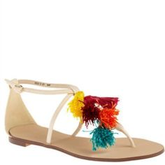 SCHU multi colored tassel nude flat sands Size 6 Brand new but slight wear on back of faux leather. Otherwise ADORBS! SCHU Shoes