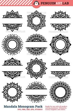 SVG Mandala Pack Svg Monogram svg and Split Mandala Cut Files for Cricut and Silhouette Manda. - SVG Mandala Pack Svg Monogram svg and Split Mandala Cut Files for Cricut and Silhouette Mandala – - Mandala Art Lesson, Mandala Drawing, Half Mandala Tattoo, Silhouette Cameo Projects, Henna Designs, Tattoo Designs, Latest Mehndi Designs, Tattoo Ideas, Svg Cuts