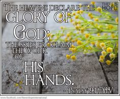 """""""The heavens declare the glory of God; the skies proclaim the work of his hands."""" - Psalm 19:1 (NIV)"""