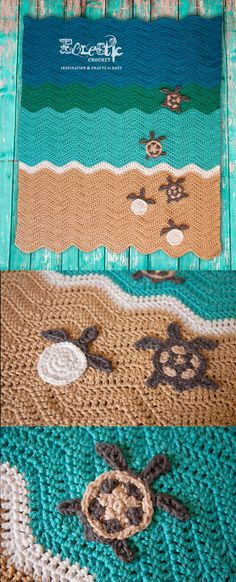 """I saw a crochet turtle blanket that Planet June by June Gilbank did & just had to make one too! For the turtle appliqué I got the pattern from """"Turtle Applique by Patricia Eggen"""" (www.ravelry.com/…) and the blanket pattern from Pretty Ripple Baby Blanket by Lauren Brown"""" (daisycottagedesig…)."""