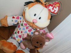 GOODNIGHT GARFIELD TY 2005 plush BEANIE BABY pajamas POOKIE teddy bear TAG #Ty