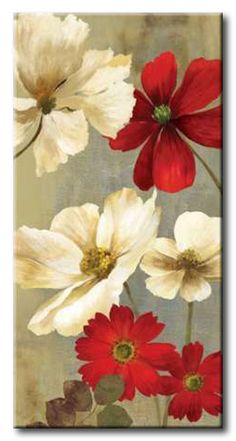 32_JNN28 _ Springerle Florals I / Cuadro Flores Blancas y Rojas