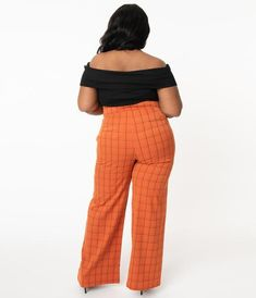 Unique Vintage Plus Size 1940s Orange Windowpane High Waist Ginger Pan Vintage Brand Clothing, Sailor Fashion, Orange Fashion, Wide Pants, Vintage Branding, Model Pictures, Orange Dress, Slacks, Unique Vintage