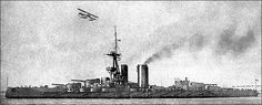 13.5 in super-dreadnought HMS Iron Duke, flagship of Grand Fleet Commander in Chief Admiral Sir John Jellicoe throughout his tenure, including at the Battle of Jutland in 1916.