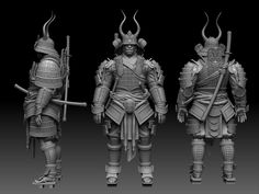 Here are some shots of the Realtime Samurai Warrier I've been working on since Christmas. Kabuto Samurai, Samurai Armor, 3d Model Character, Character Concept, Character Design, Oriental, Fantasy Chronicles, Body Reference Drawing, Japanese Mask