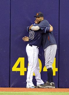 Detroit's starting pitcher David Price, right, hugs Tampa Bay Rays starting pitcher Alex Cobb just prior to their game...this pic kills me every time.