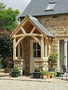 Large Green Oak Porch - Wide - Bespoke designs and sizes made Cottage Front Doors, House Front Porch, Cottage Porch, Front Porch Design, Cottage Exterior, Rustic Exterior, Porch Timber, Timber Door, Porch Oak