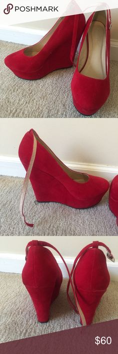 Red Wedges w/ Ankle Strap Suede like material Shoes Wedges