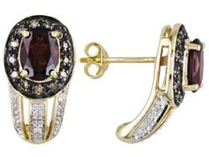 Tanga Garnet 2.20ctw Oval With Champagne And White Diamond .17ctw Round 10k Yg Earrings