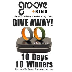 #GrooveRing is the first active ring to breathe.   So play hard, work hard and stay comfortable all day.  Groove is giving away 10 rings in the next 10 days.  Click the picture to see contest and enter to win. https://groovelife.co/pages/groove-giveaway  #giveaway #contest #sweepstakes
