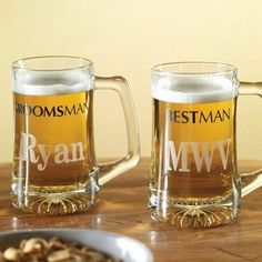 """Best Man and Groomsmen Wedding Beer Mugs from Exclusively Weddings by Exclusively Weddings. $14.95. For the men of the wedding party, this mug celebrates the important roles they play on the big day with silk-screened titles """"Best Man"""" and """"Groomsman"""". This hefty mug holds 14 oz. and features a light-reflecting starburst bottom. - Exclusively Weddings - 146-1104-1"""