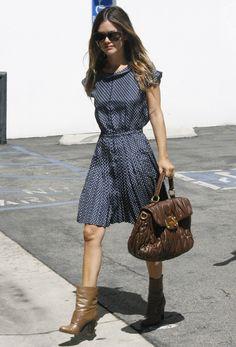 Rachel Bilson shows off her fashion sense in a polka-dot dress from Alexa  Chung for Madewell, booties and a Miu Miu bag. Rachel Bilson made a stylish  ... 57e85b531c