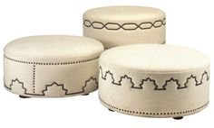 These ottomans lend an air of Tangier and are sure to be a focal point.  From Profiles.  MB Tangier ottomans