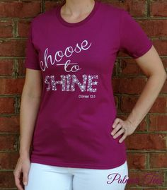 Ladies Choose to Shine Screen Printed Tee with Glitter by PalmerTees