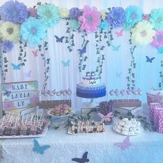 Baby Shower Ides For Girs Butterflies Fairy Birthday 69 Super Ideas Butterfly Party Decorations, Butterfly Garden Party, Butterfly Birthday Party, Butterfly Baby Shower, Birthday Party Decorations, Baby Shower Decorations, 2 Birthday, 1st Birthday Party For Girls, Garden Birthday