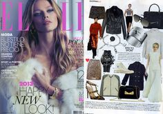 Falda de Paillettes multicolor de bdba,  en la revista Elle España diciembre