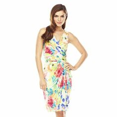 This Chaps Floral Crossover Ruched Dress looks lovely for this Summer!  #Kohls #SpringAtKohls #MC sponsored @Kohl's