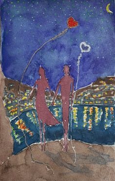 Love Couple painting Holding hands Nocturne by TremblingRhymes Couple Painting, Love Couple, Nocturne, Watercolour Painting, Love Art, Holding Hands, Original Paintings, My Etsy Shop, Couples