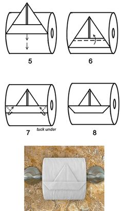 Funny, Toilet Paper Origami Lessons, Bathroom Toilet Paper Origami